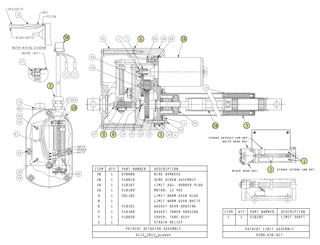 USAutomatic Patriot Actuator Parts Diagram